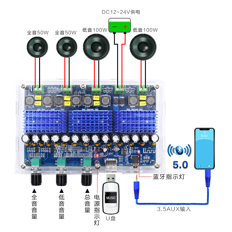 XH-A310 With Tuning TDA3116D2 Digital Power Amplifier Board Four-channel Dual Bass Dual Stereo