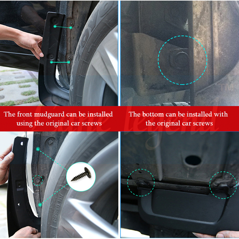 Maite For Ford Fusion Mondeo Molded 2013-2018 Car Front and Rear Mud Flaps Splash Guards Fender Mudguard 4Pcs