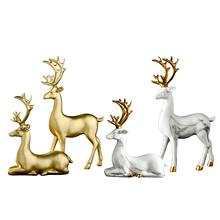 Sculpture Decoration - Nordic Style Home Decor Abstract Lucky Deer Statue Tabletop Ornaments Resin Crafts Elk Sculpture