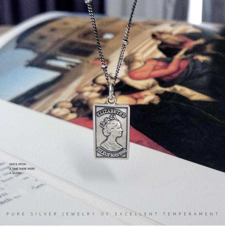 Leouerry 925 пробы серебро британская королева квадратная подвеска