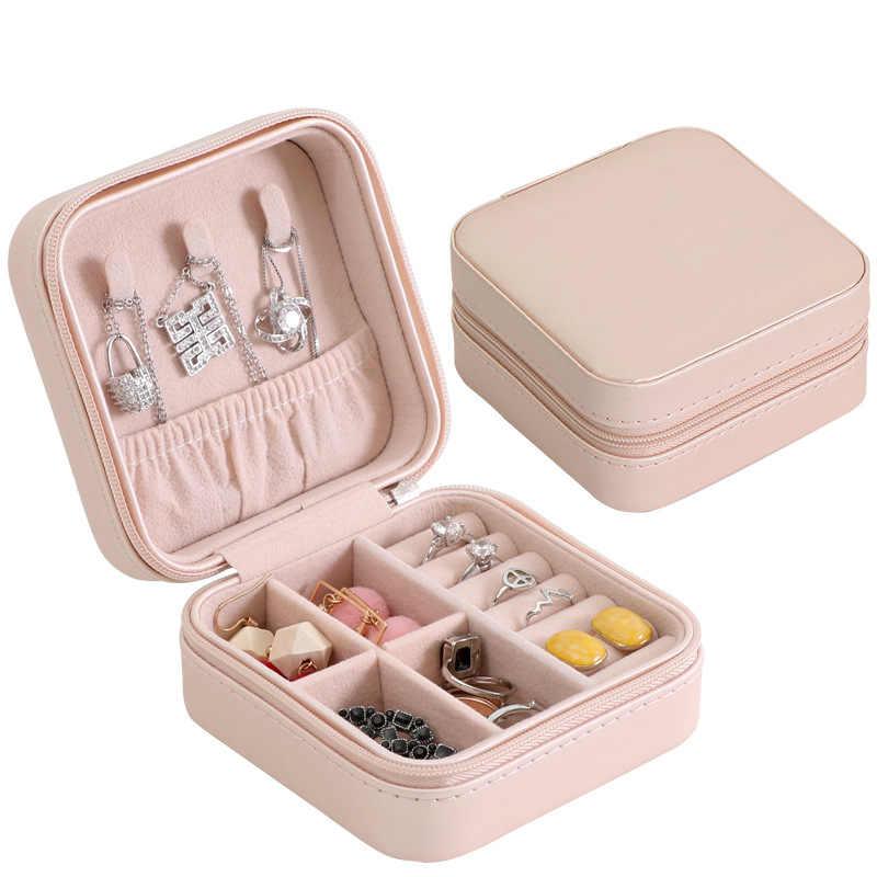 Perhiasan Perjalanan Organizer Portable Zipper Penyimpanan Perhiasan Kemasan Display Case Perhiasan Peti Mati Anting-Anting Cincin Pemegang Kotak Hadiah