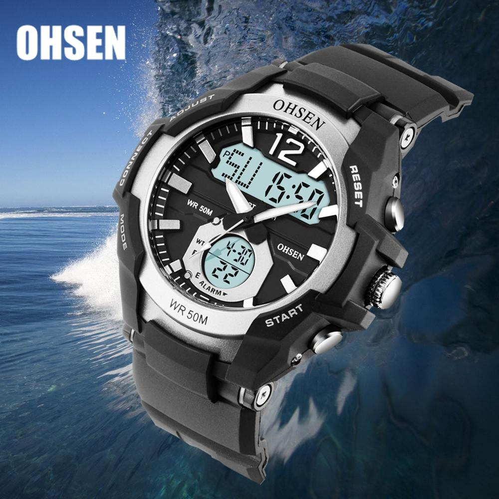 OHSEN Waterproof Digital Quartz Men's <font><b>Watches</b></font> Fashion White militar Outdoor Sport man Wristwatch Silicone Electronic Male clocks image