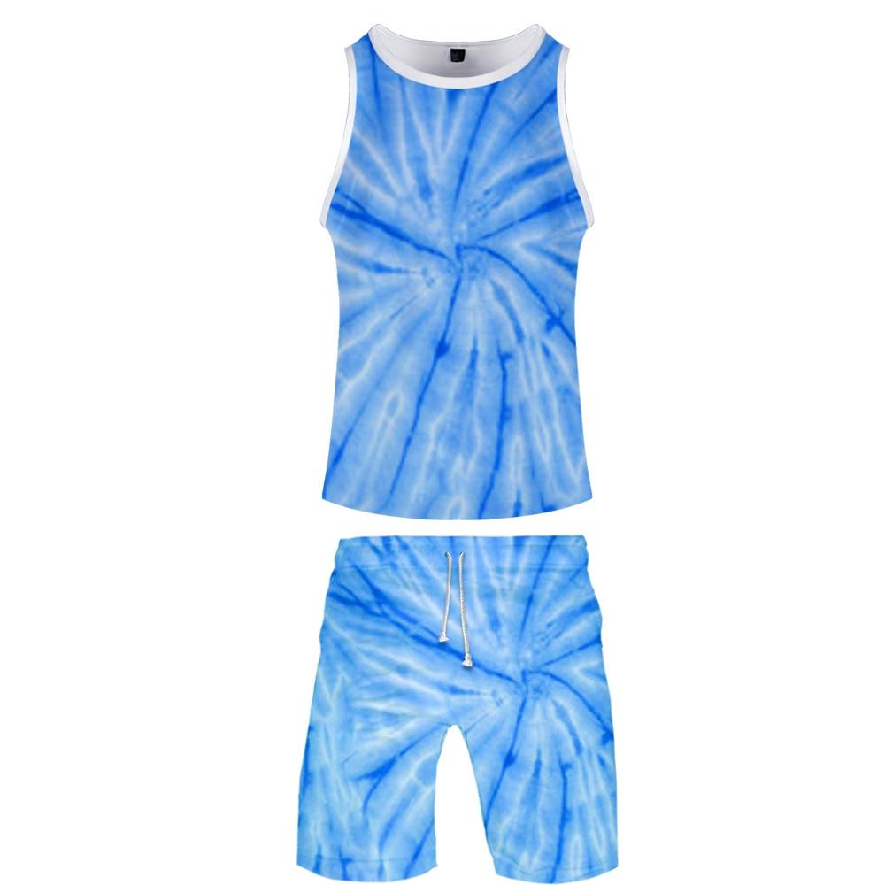 2019 Popular Tie-dye Two Piece Set Tank Top And Shorts Harajuku Women Popular Tie-dye Tank Top Streetwear Harajuku Sleeveless