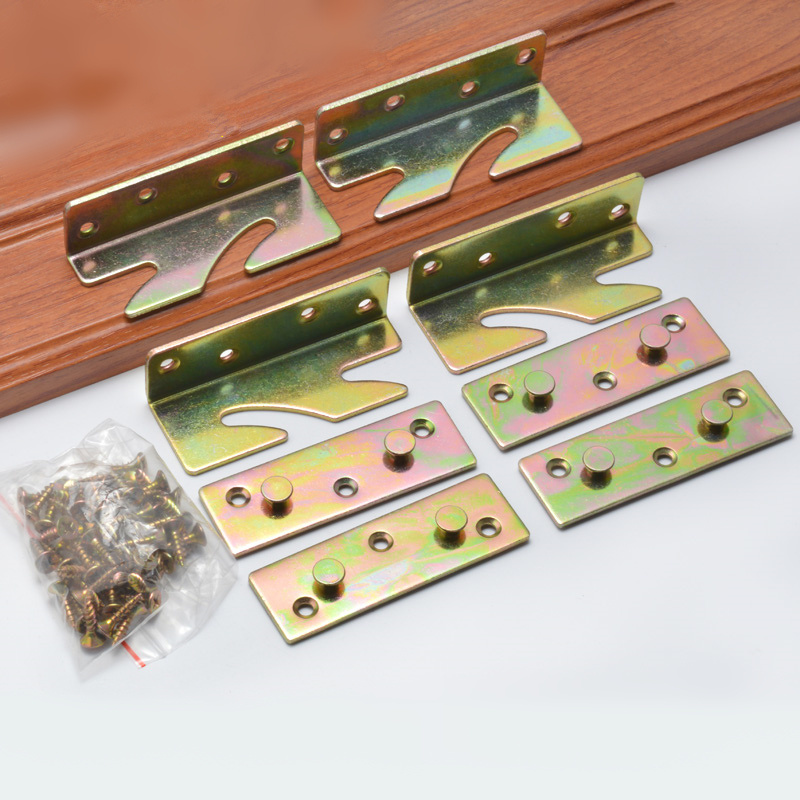1 Set (4pcs) Bed Hinged Wood Board Connector Fixed Heavy Metal Cabinet Hinge For Bed Fixed Corner Hardware Furniture Accessories
