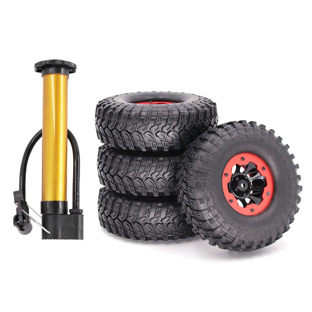 4PCS <font><b>1/10</b></font> 2.2inch Inflatable Air Pneumatic Wheel Rims & Rubber Tires Tyre For <font><b>1/10</b></font> RC Rock Crawler Truck Car <font><b>Accessories</b></font> image
