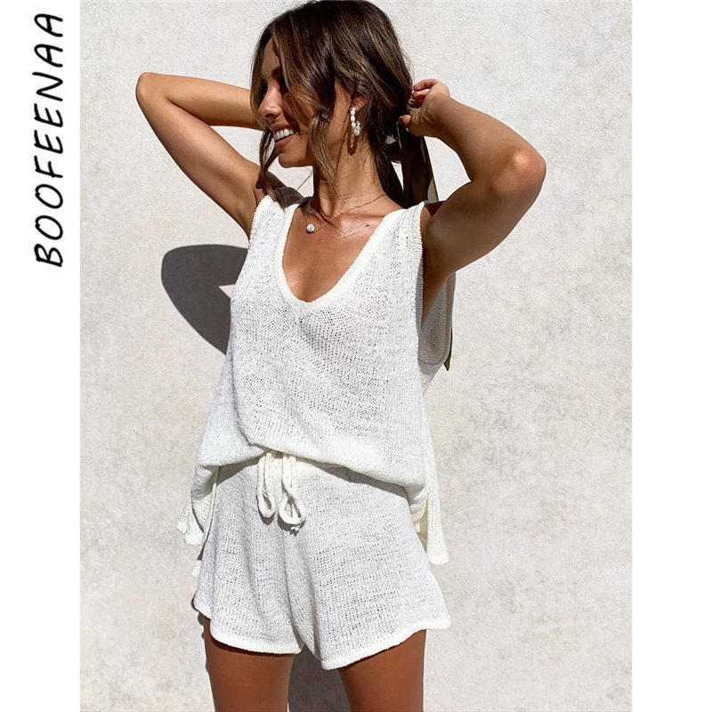 BOOFEENAA 2020 Summer Cozy Knitted 2 Piece Outfits For Women Lounge Wear Casual Two Piece Shorts Matching Sets C38-AC79