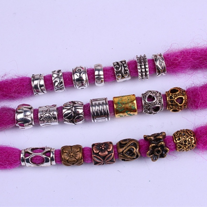 5 Pcs/set Viking Beads 14 Kind Silver Beads For Braiding Dreadlock Hair Decor Cuff Clip Beaded Hair Scrunchies Tibet Bead Tube