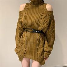 Новинка 2020 Харадзюку водолазка с открытыми плечами пуловер
