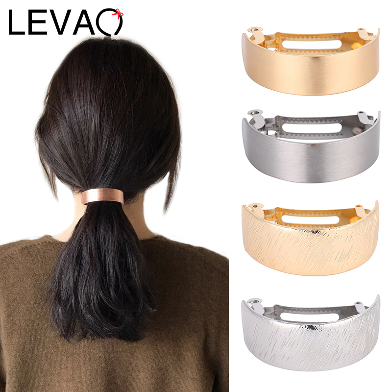 LEVAO Ladies Solid Metal Hair Pins Girls Spring Clip Hair Stick Curved Hair Jewelry Hair Accessories Headwear Women Headdress
