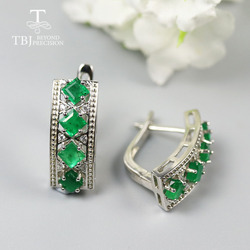Natural Zambia Emerald clasp earring square cut real emerald earring 925 sterling fine jewelry for women mom birthday gift