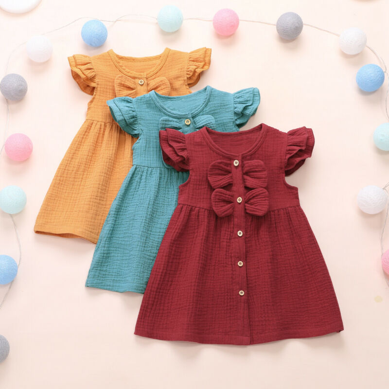 1-6 Years Infant Baby Girl Kid Summer Dress Ruffle Sleeve Bow A-Line Dress For Girls Solid  Red Yellow Casual Dress Clothes