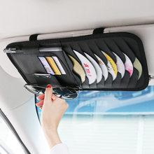Cd carro dvd titular saco disco caso de armazenamento couro do plutônio óculos de sol organizador viseira sunshade manga carteira clipes