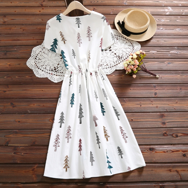 Cotton Linen Summer vintage clothing Dress Women O-neck Tree Casual Printed Dress Short Sleeve Loose 2019 New fashion 4616 50
