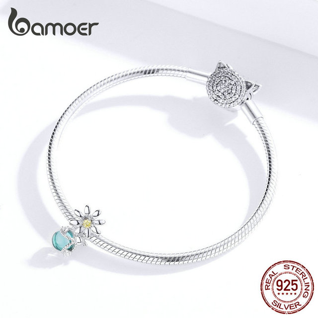bamoer Silver 925 Charm for Original Women Silver Snake Bracelet Daisy and Firefly Design Jewelry Bead Accessoreis SCC1369