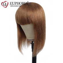 30 Color Short Bob Wigs Full Machine Made Wigs Brazilian Straight Remy Human Hair Wigs With Bangs 8-16Inch Red Burg 99J EUPHORIA(China)