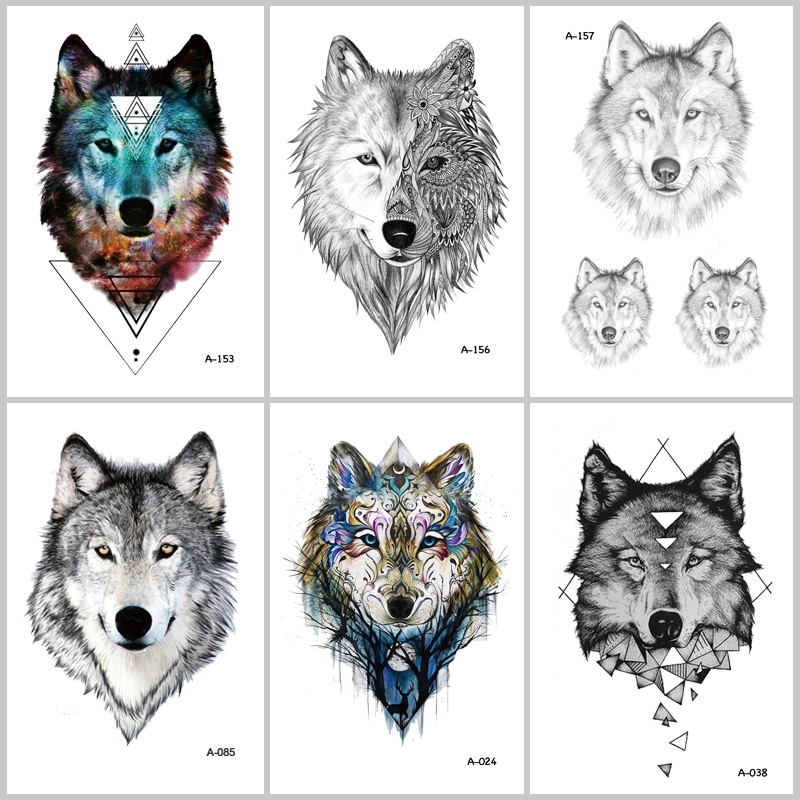 WYUEN Hot Design Wolf Temporary Tattoo For Women Body Art Animal Waterproof Men Tattoo Sticker 9.8X6cm Fake Tattoo A-069