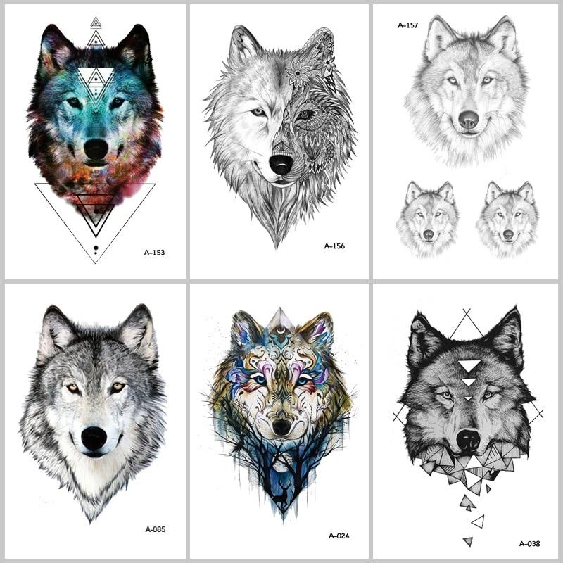 WYUEN Hot Design Wolf Temporary Tattoo For Women Body Art Animal Waterproof Men Tattoo Sticker 9.8X6cm Fake Tattoo A-069