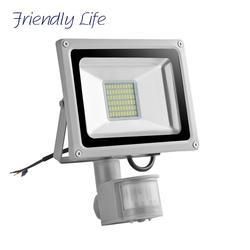 Светодиодный прожектор с датчиком движения 30 Вт, поисковый светильник 220 В, светодиодный прожектор с отражателем, водонепроницаемый SMD5730, Ла...