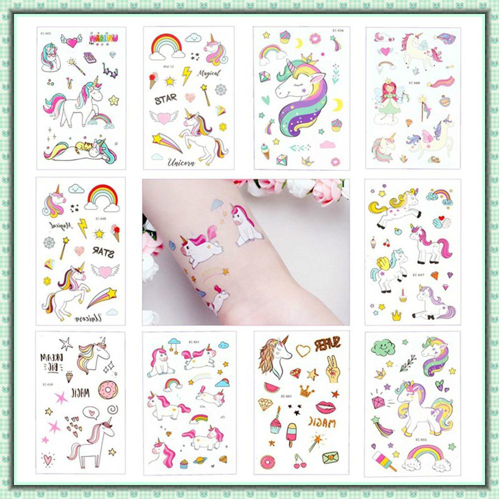 5Pcs Disposable Tattoo Sticker Unicorn Party Decoration Baby Kids Unicorn Birthday Party Favors Temporary Tattoos Supplies