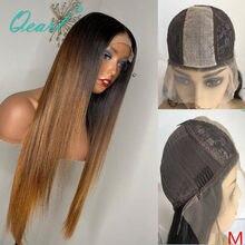 Qpearl-Peluca de cabello humano liso de dos tonos, pelo largo Remy con Base de seda, sin pegamento, color marrón degradado, 2x6, 150%, 180%