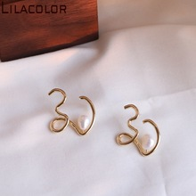 Unique Design of Copper Alloy S925 Silver Needle ear Nail fresh Water Pearl temperament retro earring Girl