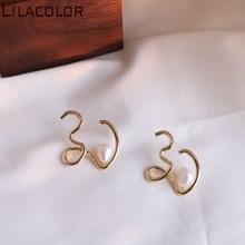 Unique Design of Copper Alloy S925 Silver Needle ear Nail fresh Water Pearl temperament retro earring Girl