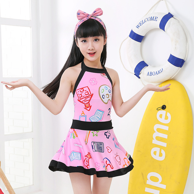 Drop Love For Water New Style Korean-style Fashion KID'S Swimwear Women's Big Kid Contrast Color Printed Cute One-piece GIRL'S S