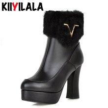 Kiiyilala/зимние ботинки на меху без шнуровки женская обувь на платформе 10,5 см на не сужающемся книзу массивном каблуке женские ботильоны с круглым носком и металлическим украшением Большие размеры
