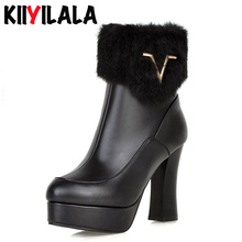 цена на Kiiyilala Fur Slip-on Snow Boots Women Chunky Heel 10.5 cm Platform Shoes Round Toe Metal Decoration Woman Ankle Boots Big Size