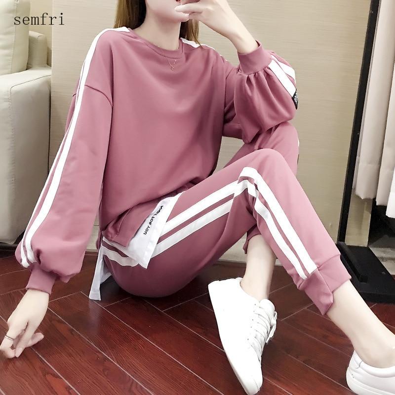 Semfri Cotton Plus Size Womens Tracksuit 2020 Spring Autumn Sweatshirt Two Piece Set Female Loose Style Casual Sweatsuit