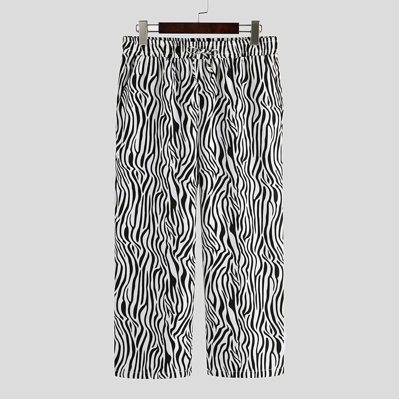 INCERUN New Personality Joggers Men Pants Printed Baggy Casual Pantalon Chic Fashion Elastic Waist Streetwear Men Trousers S-5XL