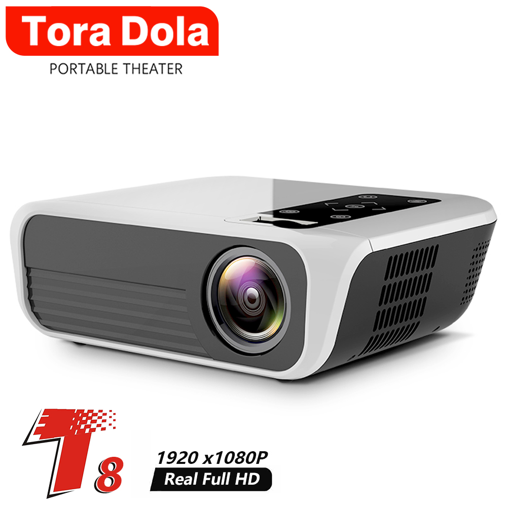 TORA DOLA Full HD 1920*1080P Portable Projector T8-AD,Android 7.1(2G + 16G),Support 4K Home Cinema Theater Media Video Player image
