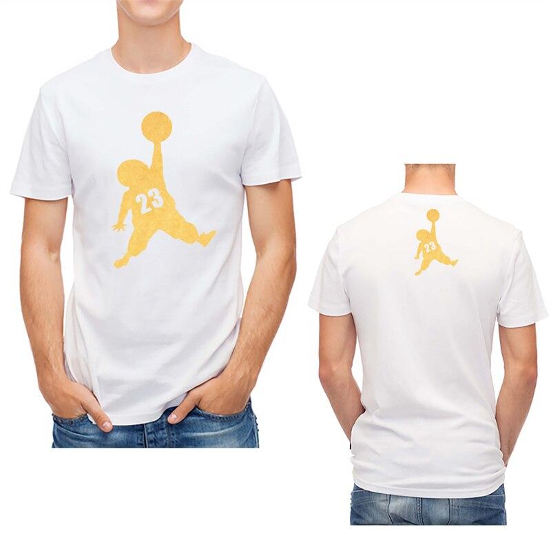 Cool Design Golden Small Jordan NO.23 Printed Men T Shirt Cotton O-neck Tops Short Sleeve Hip Hop Tee Custom Print Graphic