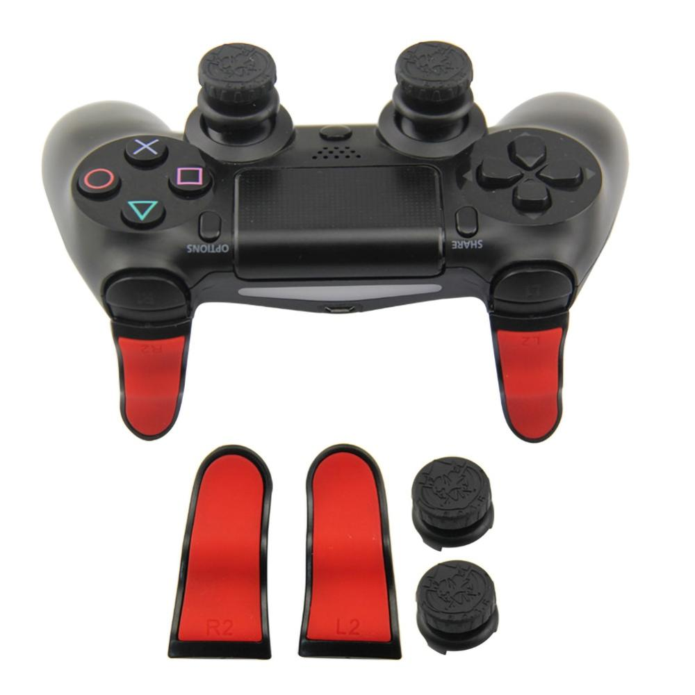 11 4pcs L2 R2 Trigger Extenders Buttons Thumbstick Caps Kit For PS4 Controller Gamepad Accessory Silicone Thumb Stick