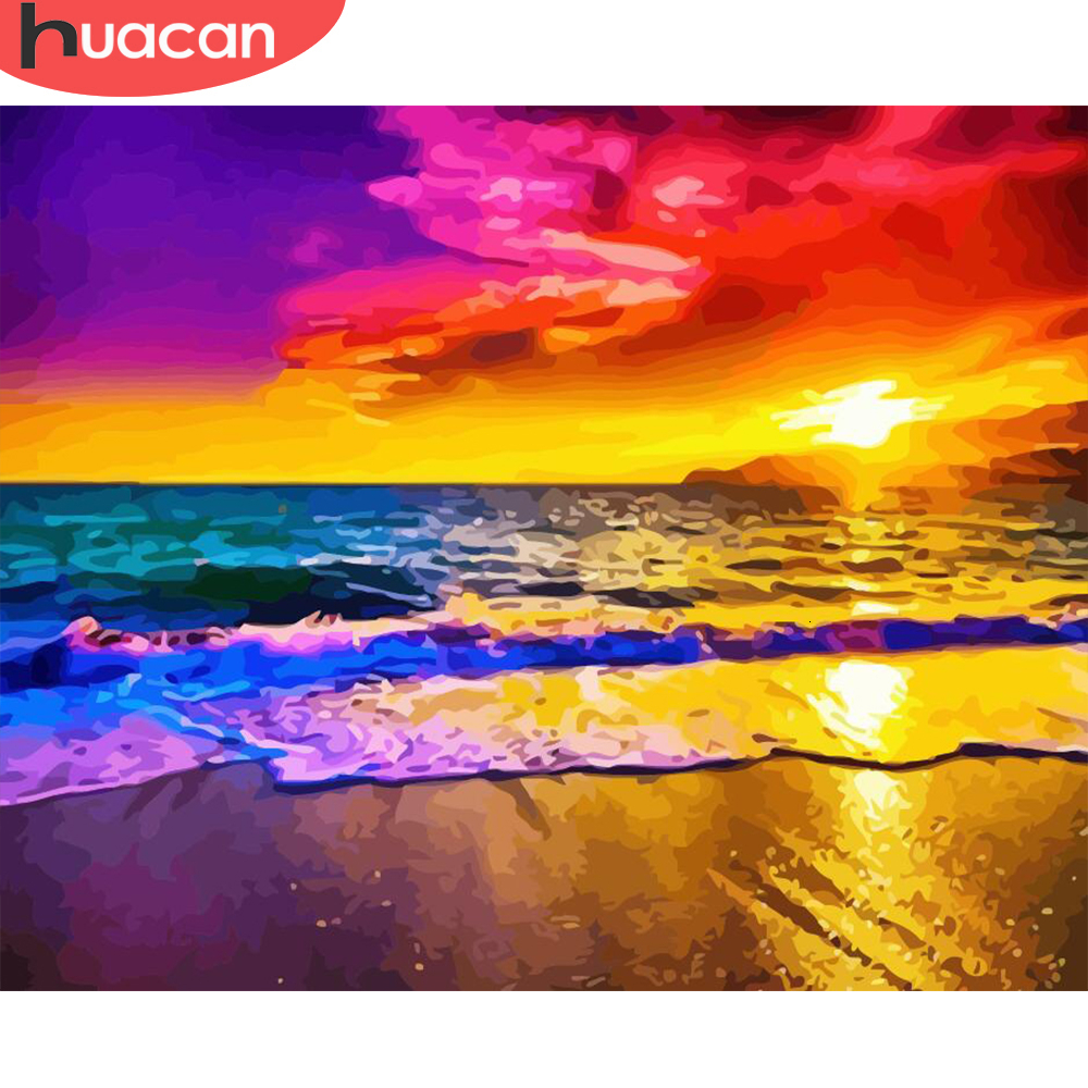 HUACAN Painting By Numbers Sea Scenery Kits Drawing Canvas HandPainted Coloring Sunset Pictures Home Decoration Art Gift