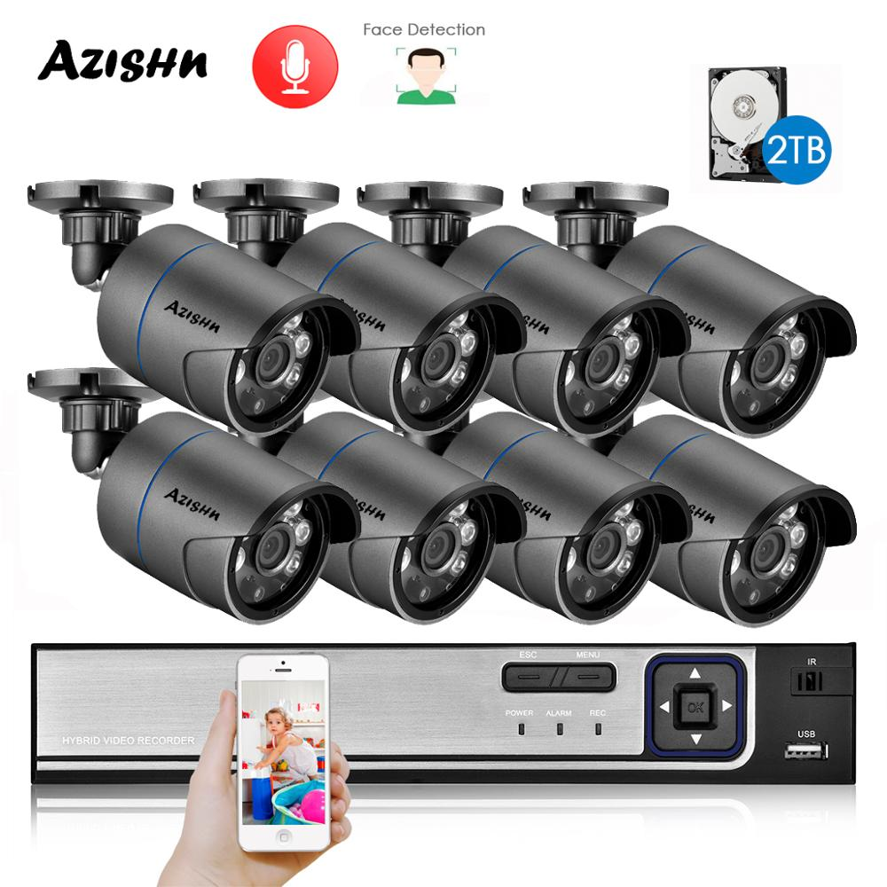 AZISHN H.265+ 8CH 5MP POE Security System NVR Kit Audio IP Camera IR Outdoor IP66 Face