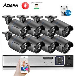 AZISHN H.265+ 8CH 5MP POE Security System NVR Kit Audio IP Camera IR Outdoor IP66 Face Detection CCTV Video Surveillance NVR Set(China)
