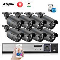 AZISHN H.265 + 8CH 5MP POE Система безопасности NVR комплект аудио IP камера ИК Открытый IP66 распознавание лица CCTV видеонаблюдение NVR комплект