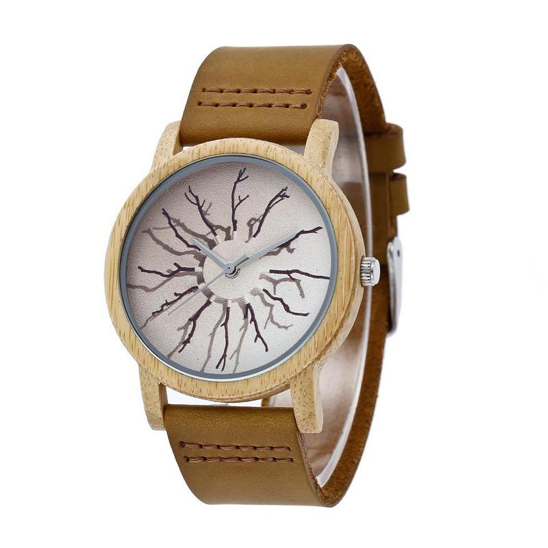 2020 Real Rushed Genuine Leather Strap Watch Natural Bamboo Source International A Undertakes To Factory