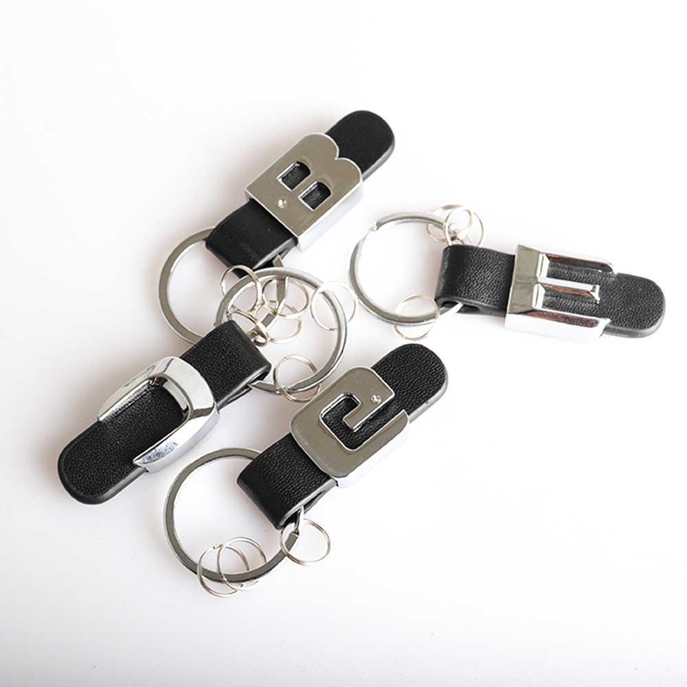 Auto Brief keychain Für Mercedes Benz A B C D E G M S GL SL ML 3D Metall Leder gurt Schlüssel Ring