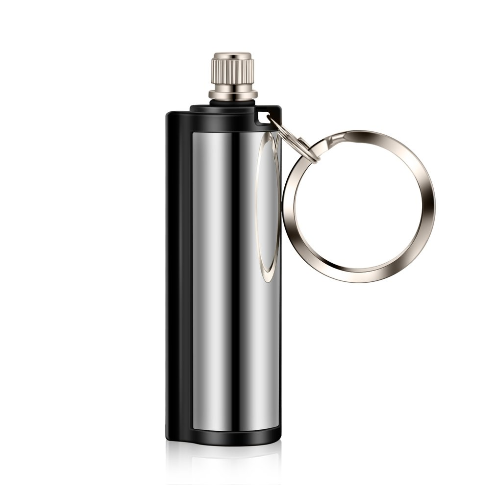 Stainless Steel Survival Camping <font><b>Emergency</b></font> Fire Starter Flint Match <font><b>Lighter</b></font> With Key Chain Ideal for Campers Beaches Trips image