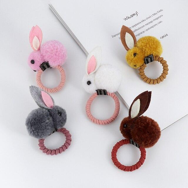Cute animal hair ball rabbit hair ring rubber elastic bands Korean children hair Accessories 5