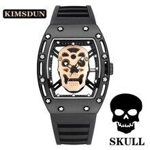 Skull Tonneau Skeleton Watch Men Hollow Waterproof Skull Watch Male Quartz Silicone Wrist Watch Men Clock erkek kol saati