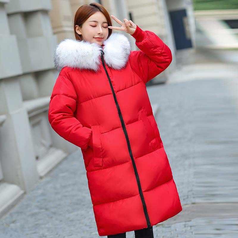Jacket voor Winter Vrouwen 2019 Grote Bontkraag Katoen gevoerde Warm Thicken Plus Size 7XL Winterjas Vrouwen Parka uitloper Vrouwelijke