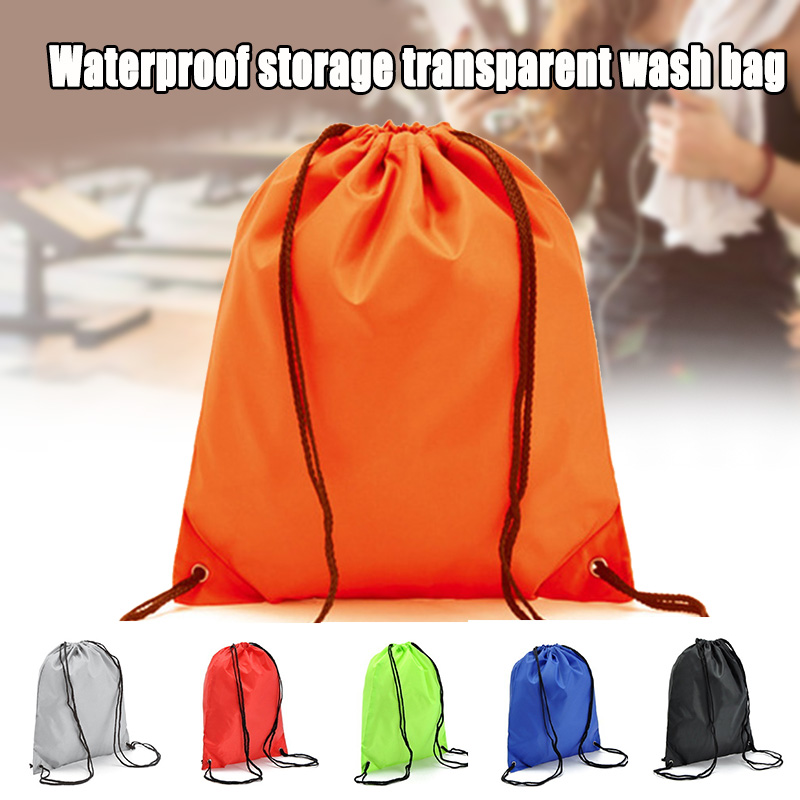 New Style Drawstring Backpack Storage Bag Solid Color Portable For School Sport Travel Shoes Cycling