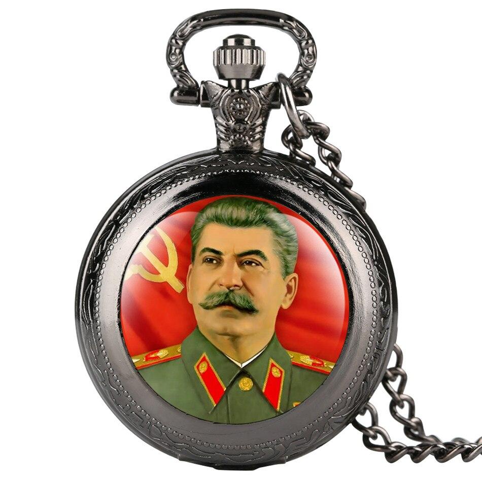 Stalin Theme Souvenir Necklace Watch Quartz Black/Silver/Gold/Bronze Pocket Watch Gifts Men Women with Necklace Chain