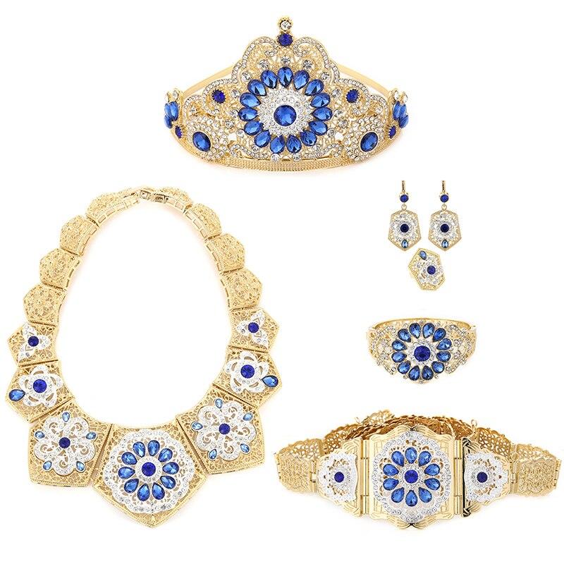 Ensemble de bijoux de mariage de luxe pour femmes musulmanes arabes ensemble de six pièces de bijoux avec collier en cristal coloré
