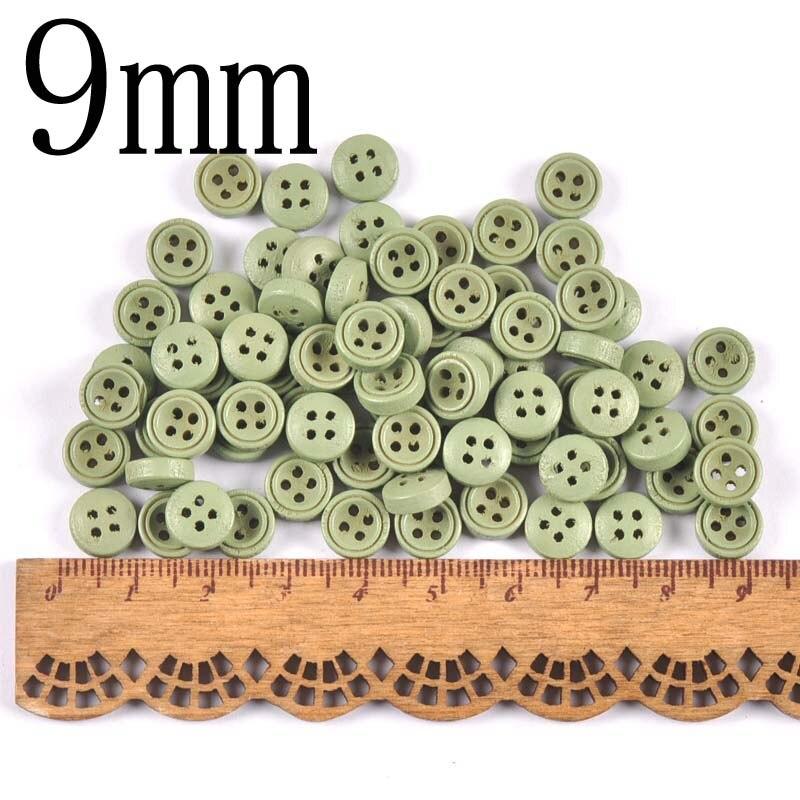 100 шт 9 мм/10 мм деревянные декоративные пуговицы для пришивания одежды Скрапбукинг ремесла домашний декор MT2519 - Цвет: 4
