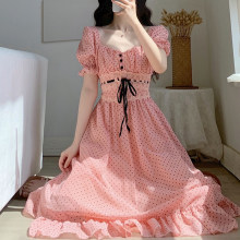 2021 Summer Short Sleeve Beach Dress Women Elegant Vintage Dot Midi Dress Female Square Collar Party One Piece Dress Korean Chic