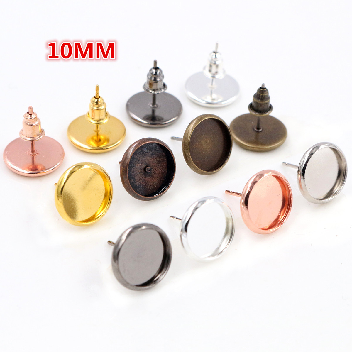 10mm 20pcs 7 Colors Plated Earring Studs,Earrings Blank/Base,Fit 10mm Glass Cabochons,earring Setting;Earring Bezels